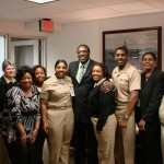 Meadowlark Lemon with Vice Admiral Winns and Staff at the Navy Inspector Generals Office