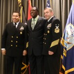 Meadowlark Lemon with the Navy Leaders of America Program Master Chiefs