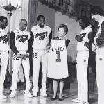 Meadowlark Lemon's Shooting Star's team with Nancy Reagan at the White House